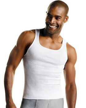 Hanes 372 Men's White 3 Pack Banded neck A-Shirt