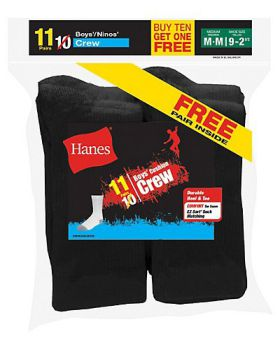 Hanes 421/11 EZ-Sort Boys' Crew Socks 11-Pack (Includes 1 Free Bonus Pai ...