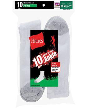 Hanes 422/10 Boys' Ankle EZ Sort Socks 10-Pack