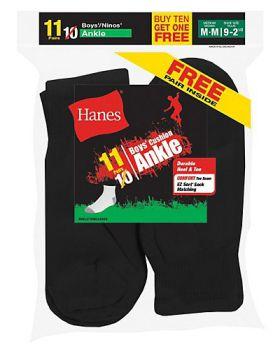 Hanes 422/11 EZ-Sort Boys' Ankle Socks 11-Pack (Includes 1 Free Bonus Pa ...