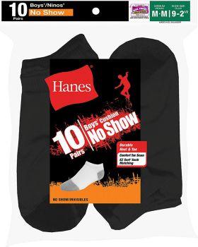 Hanes 424/10 Boys' No-Show EZ Sort Socks 10-Pack