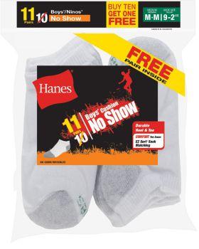 Hanes 424/11 EZ-Sort Boys' No-Show Socks 11-Pack (Includes 1 Free Bonus  ...