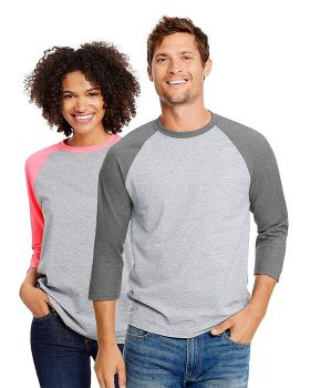 Hanes 42BA Unisex 60/40 Ringspun Cotton/Polyester X-Temp Baseball T-Shirt