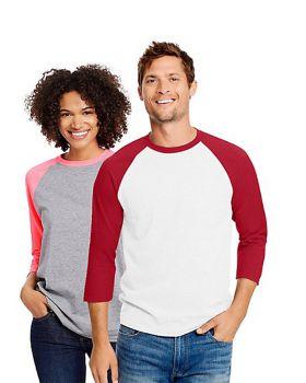 Hanes 42BA Unisex X Temp Baseball Ring Spun Cotton Polyester T-Shirt
