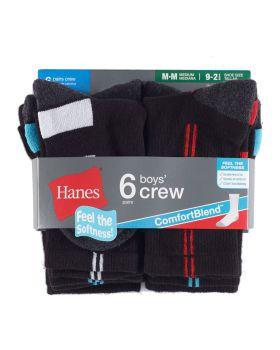 Hanes 431/6B Boy's Crew Comfortblend Ez Sort Socks 6 Pack