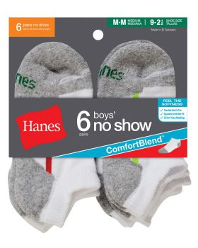 Hanes 434/6 Boys' No-Show ComfortBlend Assorted White Socks 6-Pack