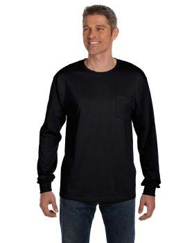 Hanes 5596 Men's Tagless Long Sleeve Pocket T-Shirt