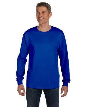 Hanes 5596 Men's Tagless Long-Sleeve Pocket T-Shirt