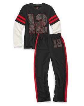Hanes 6019B Boys' Sleepwear 2-Piece Set, Varsity Print