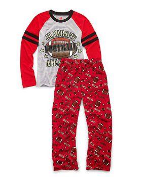Hanes 6019C Boys' Sleepwear 2-Piece Set, JV All-Star Print