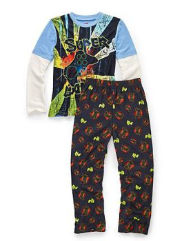 Hanes 6019D Boys' Sleepwear 2-Piece Set, Super Gamer Print