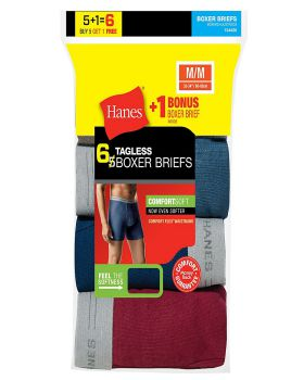 Hanes 7349Z6 Men's TAGLESS Boxer Brief with Comfort Flex Waistband 6-Pac ...