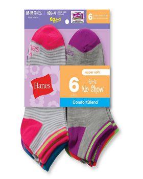 Hanes 745/6 Girls' Fashion ComfortBlend No-Show Socks 6-Pack