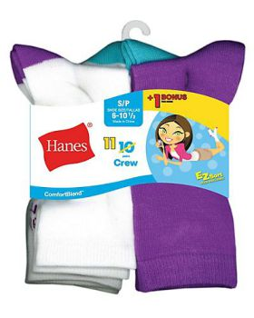 Hanes G41/11 ComfortBlend EZ-Sort Girls' Crew Socks 11-Pack (Includes 1  ...