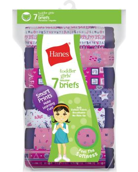 Hanes GTHMT7 Tagless Toddler Girls Days of the Week Pre-Shrunk Cotton Briefs 7-Pack