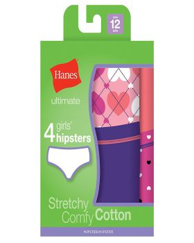 Hanes GUCHP4 Ultimate TAGLESS Cotton Stretch Girls' Hipsters 4-Pack