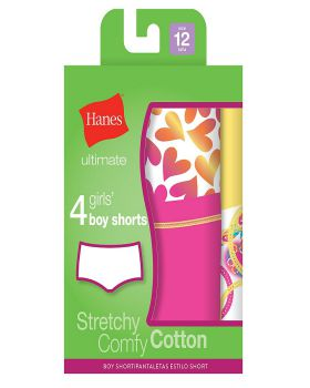 'Hanes GUCSP4 Ultimate TAGLESS Cotton Stretch Girls' Boy Shorts 4-Pack'