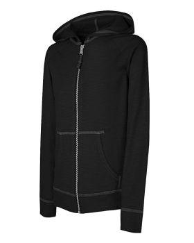 Hanes K208 Girls' Slub Jersey Full-Zip Hoodie