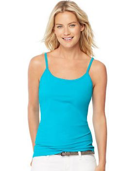 Hanes O9342 Women's Stretch Cotton Cami with Built In Shelf Bra