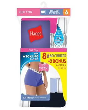 Hanes P849SC Women's Cool Comfort Sporty Boy Brief P6+2 free (Bonus Pack ...