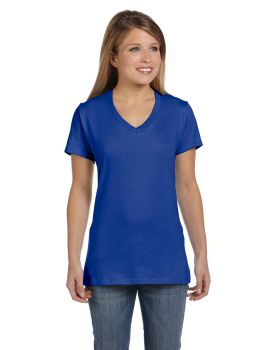 Hanes S04V Ladies' Ringspun Cotton nano-T V-Neck T-Shirt