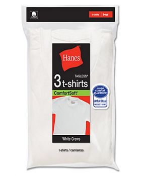 'Hanes TB2133 Toddler Boy's White Crew Neck T-shirts 3-Pack'