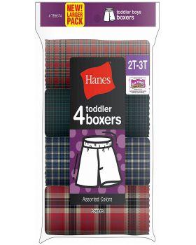 Hanes TB85T4 Toddler Boy's Tartan Boxer 4-Pack
