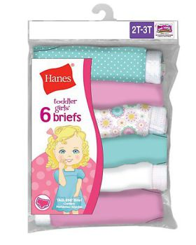 Hanes TP30AS TAGLESS Toddler Girls' Cotton Briefs 6-Pack
