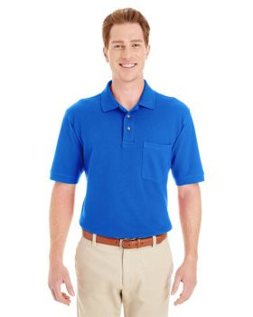 Harriton M200P Adult Ringspun Cotton Piqué Short-Sleeve Pocket Polo