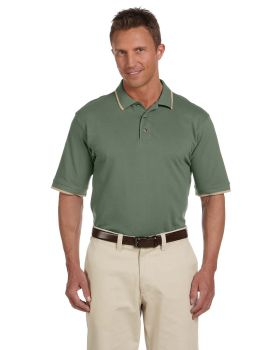 Harriton M210 Adult Short-Sleeve Piqué Polo with Tipping