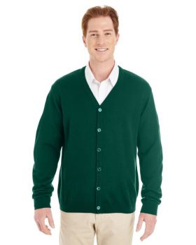 Harriton M425 Men's Pilbloc V Neck Button Cardigan Sweater