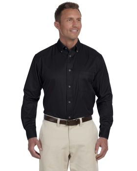 Harriton M500T Men's Tall Easy Blend Long-Sleeve Twill Shirt with Stain- ...