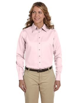 Harriton M500W Ladies' Easy Blend Long-Sleeve TwillShirt with Stain-Rel ...