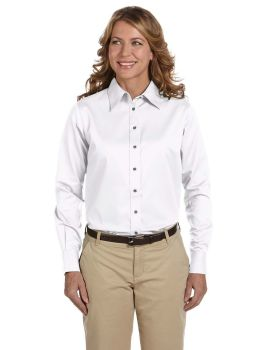 Harriton M500W Ladies Long Sleeve Easy Blend with Stain Release TwillSh ...