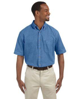Harriton M550S Men's Short-Sleeve Denim Shirt