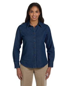 Harriton M550W Ladies' Long-Sleeve Denim Shirt