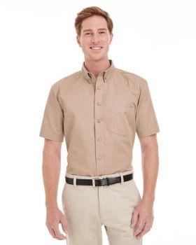 Harriton M582 Men's Foundation Cotton Short-Sleeve Twill Shirt with Tefl ...