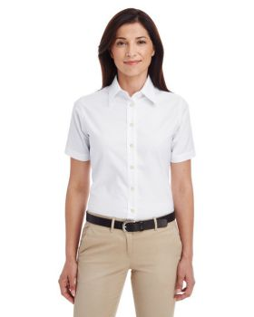 Harriton M600SW Ladies' Short-Sleeve Oxford with Stain-Release