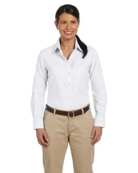 Harriton M600W Ladies' Long-Sleeve Oxford with Stain-Release