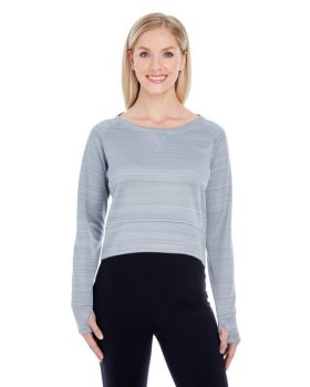 J America JA8663 Ladies' Odyssey Striped Poly Fleece Hi-Lo Crew