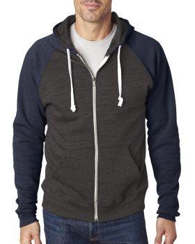 J America JA8874 Adult Triblend Colorblock Full-Zip Fleece Hood