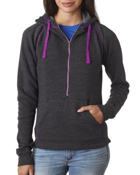 J America JA8876 Ladies' Triblend Half-Zip Fleece Hood