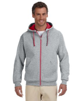 Jerzees 93CR Adult NuBlend Contrast Full-Zip Hood
