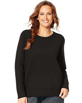 Just My Size OJ098 Women's Comfortsoft Ecosmart V Notch Crewneck Sweatsh ...