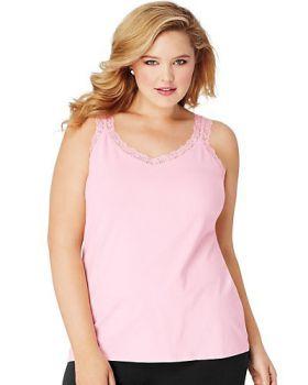 'Just My Size OJ314 Women's Jms Stretch Jersey Lace Trim Tank'