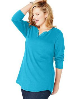 Just My Size OJ331 Women's Jms Lightweight Split Neck Tunic