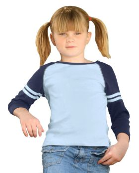 Kavio G1C0183 Girl's 7-16 Athletic Quarter Sleeve Raglan Top