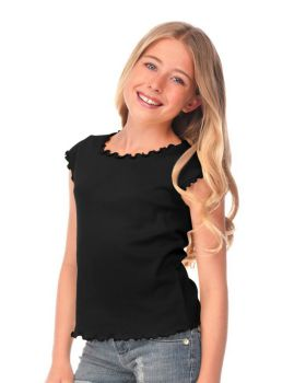 Kavio G1C0253 Girl's 7-16 Lettuce Edge Scoop Neck Cap Sleeve Top