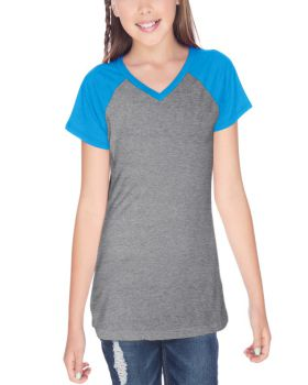 Kavio GJP0567 Girl's 7-16 Sheer Jersey V Neck Raglan Short Sleeve