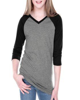 Kavio GJP0568 Girl's 7-16 Sheer Jersey Contrast V Neck Raglan Quarter Sl ...